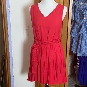 Dresses & Skirts - Red Flowy Dress with Braided Tie Waist